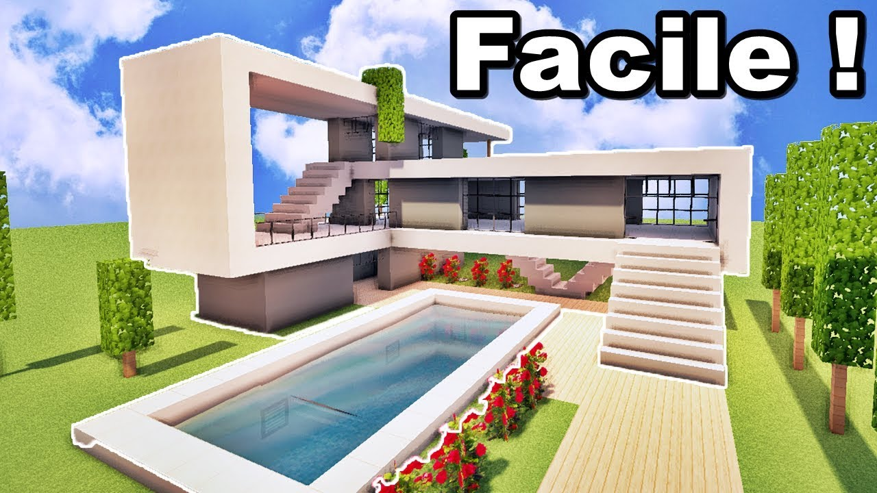 maison ultra moderne facile faire sur minecraft tutoriel youtube. Black Bedroom Furniture Sets. Home Design Ideas