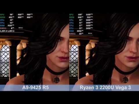 Amd A9 9245 R5 Vs Ryzen 3 2200u Vega 3 Quick Test Comparison Youtube