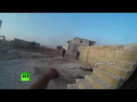 Killed in combat  Al Nusra militants in chaotic urban warfare in Syria POV cam