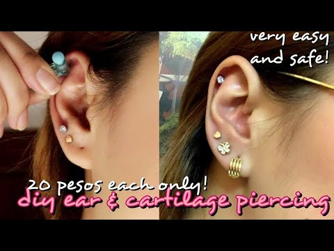 DIY EAR CARTILAGE PIERCING USING A 20 PESOS DISPOSABLE EAR GUN! SAFE BA!?| Philippines | Erika Lim