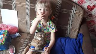 Настя и кошка Фрося смотрят в телефоне видео на Ютубе! Умная кошка смотрит веселое видео с Хозяйкой