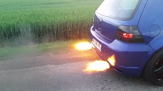 Golf VR6 24V turbo, 2 step , launch control test, flame thrower
