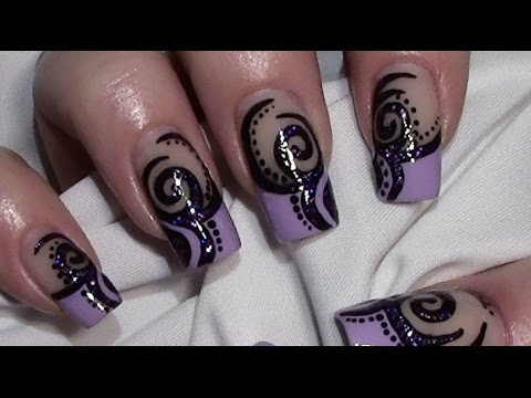 abstraktes nageldesign in lila zum selber machen mit nagellack nail art design tutorial youtube. Black Bedroom Furniture Sets. Home Design Ideas