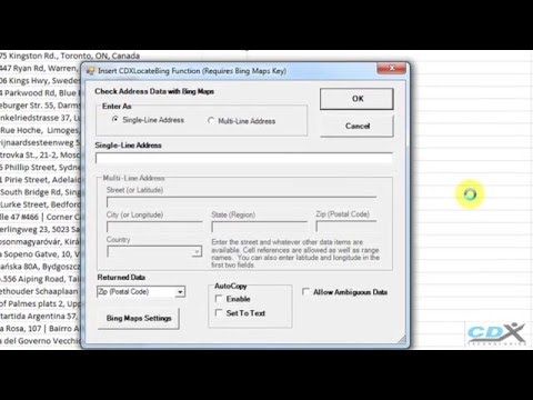 Look up ZIP Codes for Addresses in Excel using Bing Maps
