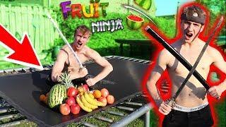 REAL LIFE FRUIT NINJA ON A TRAMPOLINE !