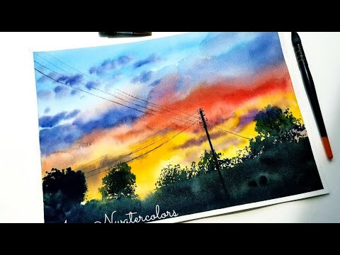 Sunset Sky and Clouds in Watercolor Painting
