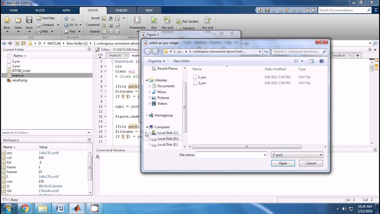 IEEE MATLAB COLORSPACE CONVERSION ALONE FROM YUV FILE TO RGB