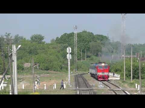 Отправление поезда №328 Минск - Казань со станции Козельск и перебегание путей наперегонки