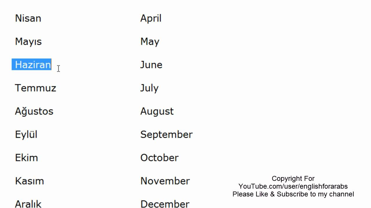 Months of the year in Turkish language -Turkish For Beginners