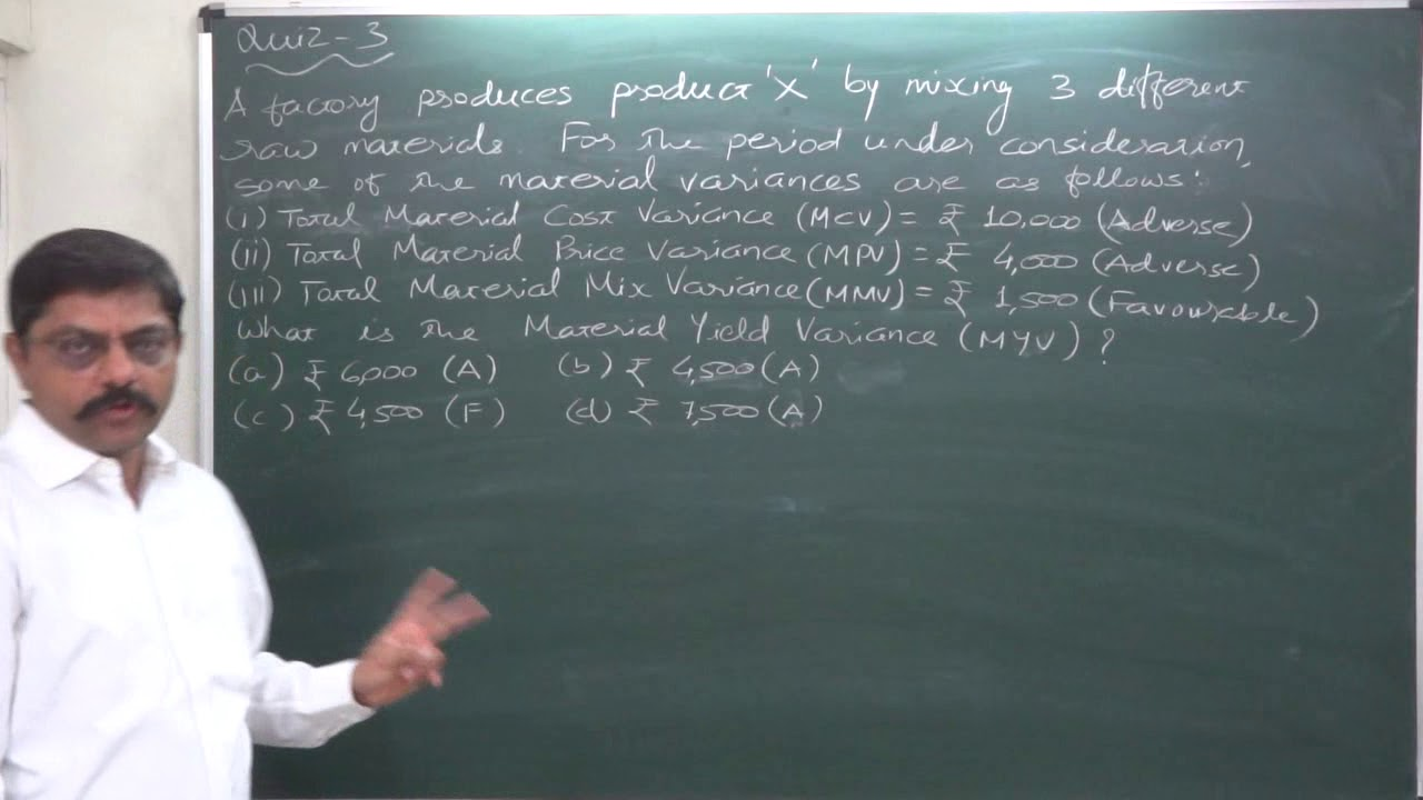 Standard Costing 1 Material Yield Variance Reverse