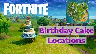 """Fortnite Birthday Cake Locations """"Dance in front of different Birthday Cakes"""" Challenge"""