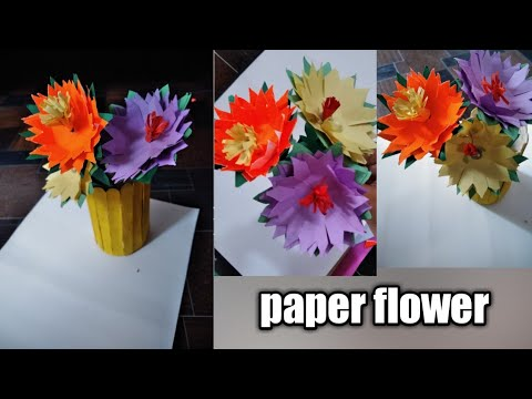 How to make paper flower/DIY paper flower/paper flower with easy way