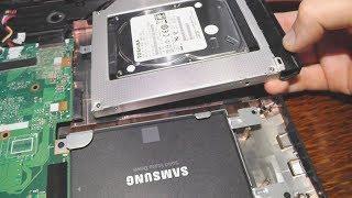 Установка SSD Samsung 860 EVO и перенос HDD в дисковод на ноутбуке Asus X751L + его разборка