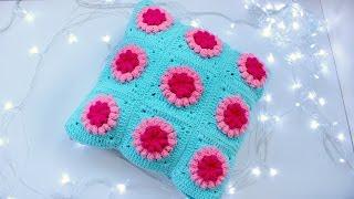 Вязание крючком. Наволочка на подушку - цветочный мотив./Crochet flower.  Pillowcase. Free pattern.(Здравствуйте всем! Меня зовут Анастасия)) Хочу поделиться с вами схемой вязания крючком вот такой милой..., 2016-04-20T07:02:20.000Z)