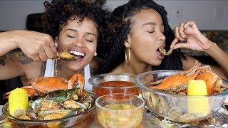GREEN LIPPED MUSSELS and BLUE CRAB SEAFOOD BOIL MUKBANG