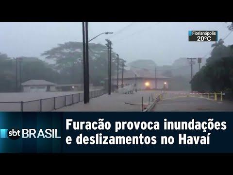 Chegada do furacão Lane provoca inundações e deslizamentos no Havaí | SBT Brasil (24/08/18)