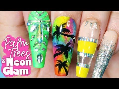 Palm Trees & Neon Glam Nail Art Tutorial // Summer Nail Art at Home thumbnail