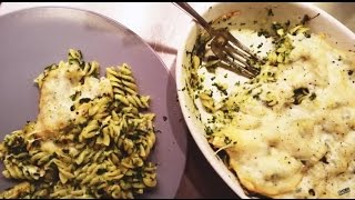 Pasta Casserole With Spinach, Zucchini, Garlic And Cheese