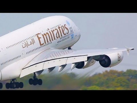 15 AIRBUS A380 Landings and Departures  - Emirates, Lufthansa, Qantas, Singapore ...