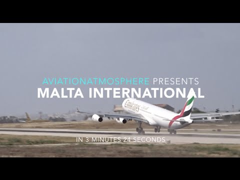 PlaneSpotting in Malta [EMIRATES A340 SHORTY WINDY TAKEOFF]