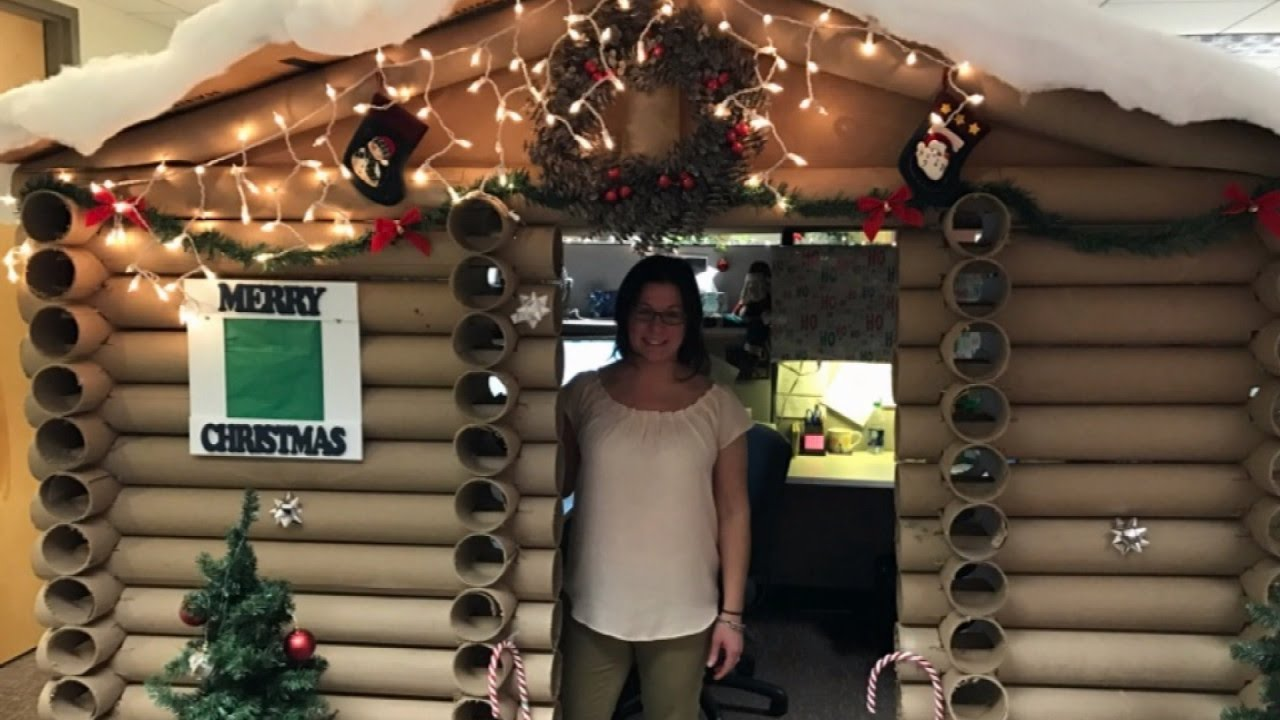 Woman Turns Cubicle Into Cozy Log Cabin Wins First Place In Decorating Contest