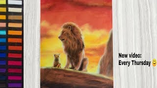 The Lion King - Drawing Simba & Mufasa with Pastel