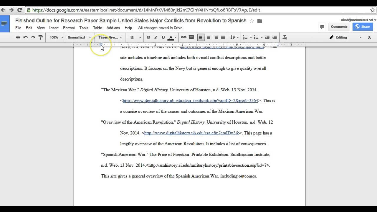 how to make works cited on google docs