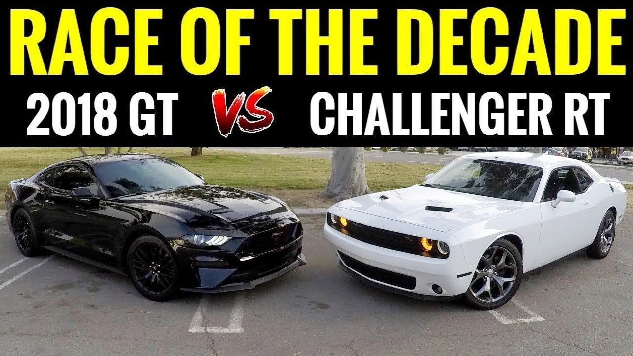 2018 mustang gt vs dodge challenger rt street race