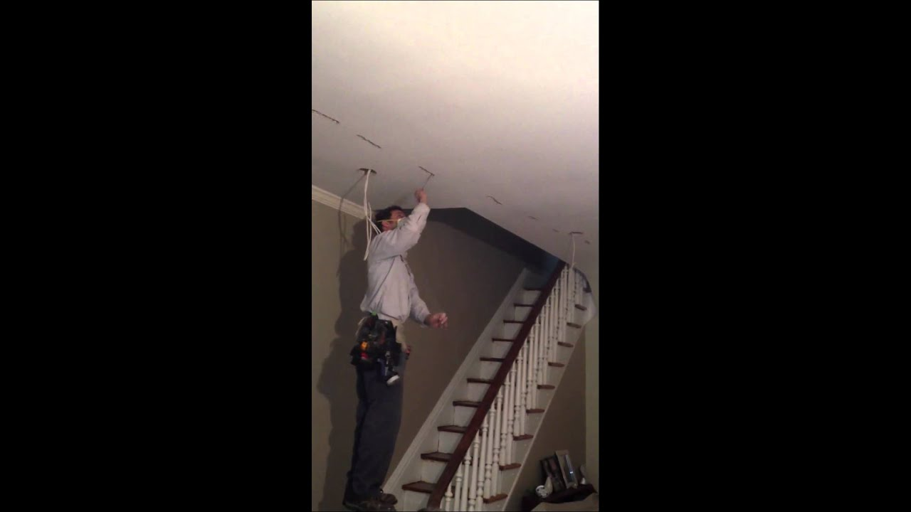 Fishing a wire across a ceiling - YouTube