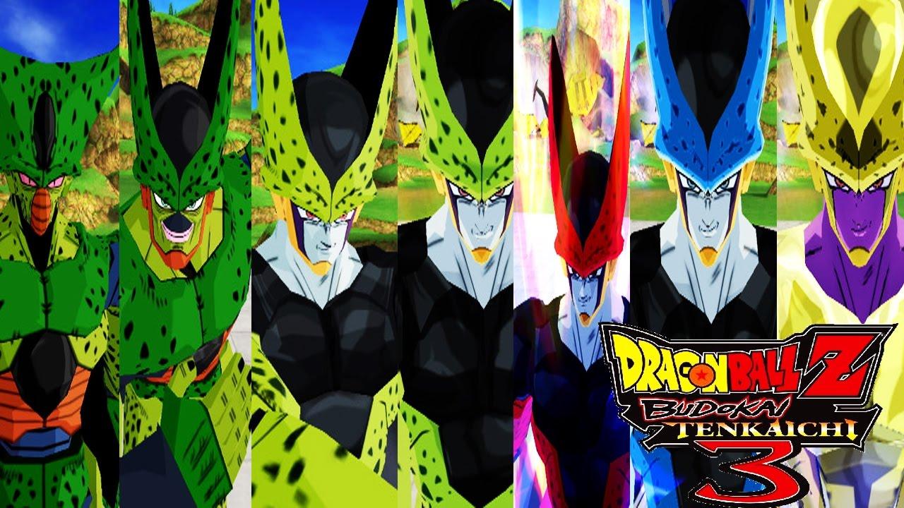 cell forms pack dragon ball z budokai tenkaichi 3 mod youtube