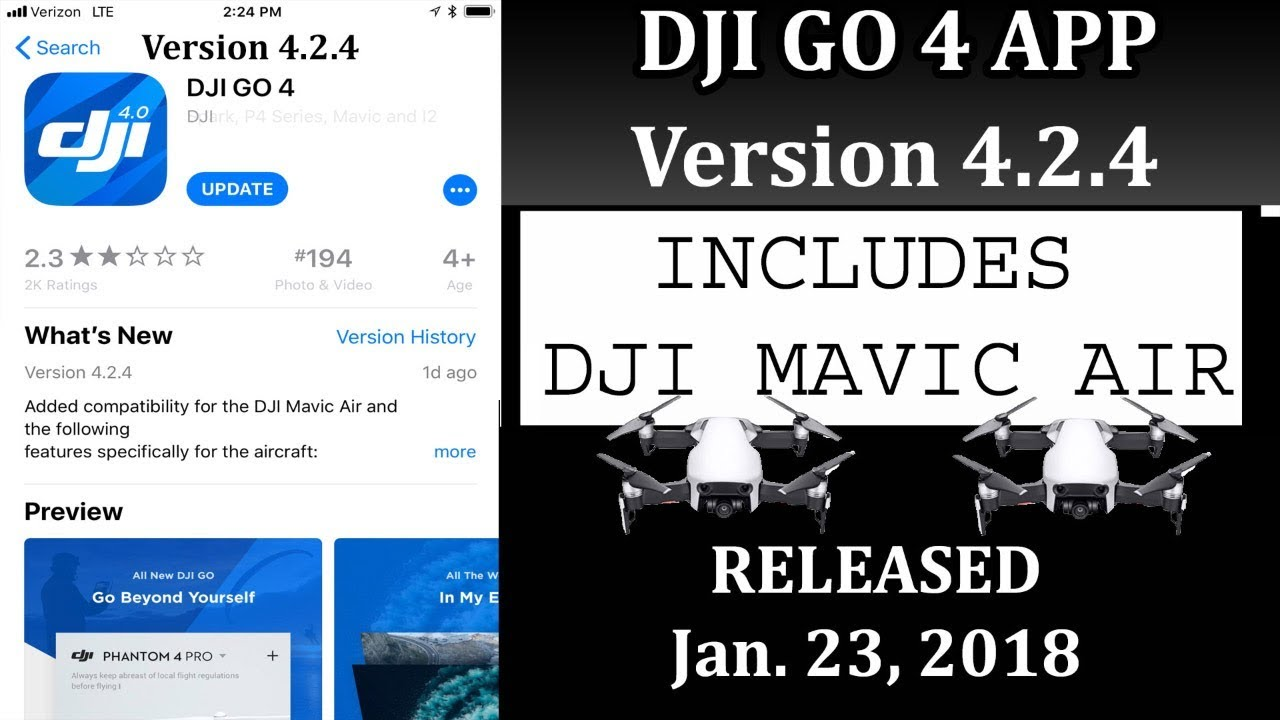 Version 4 2 4 DJI GO 4 APP for DJI Mavic Air