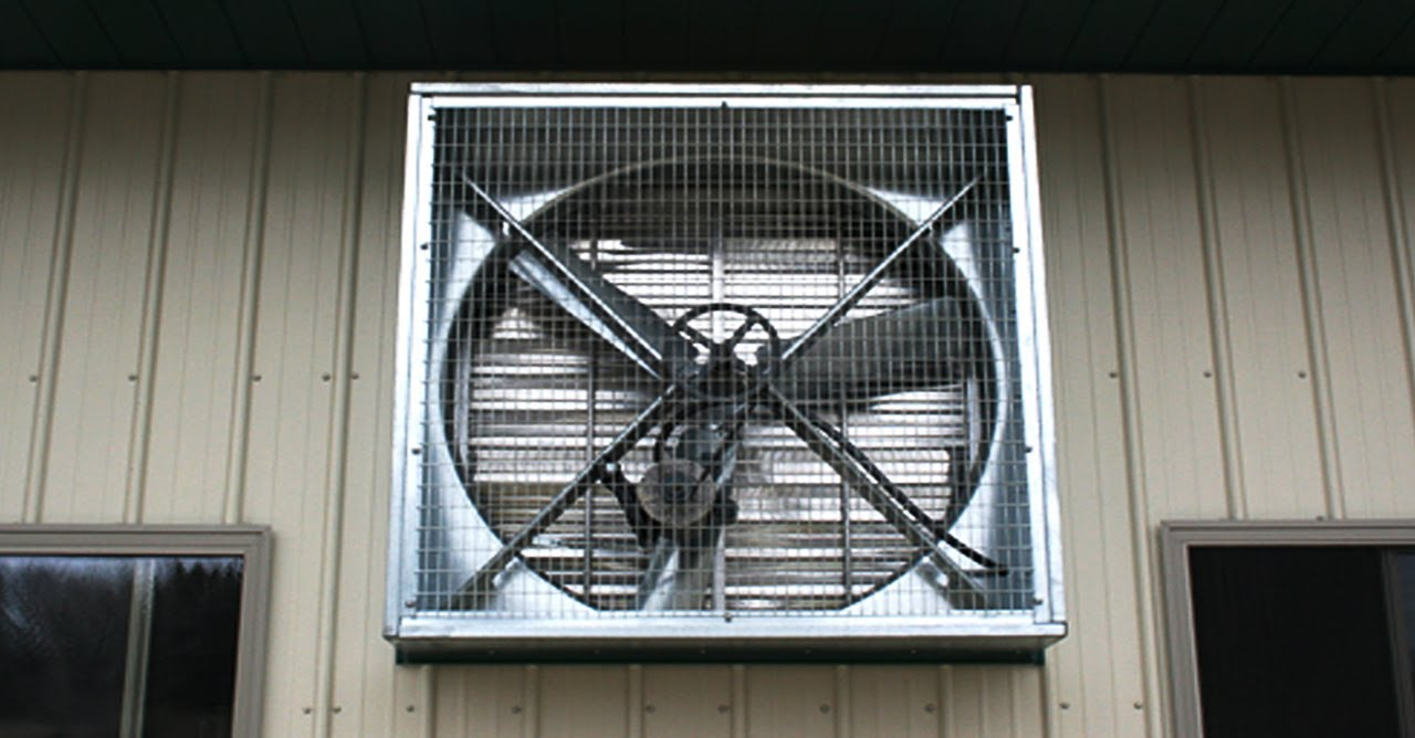 Exhaust shutter fan installation for electric factory ...