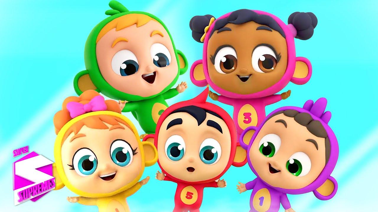 Lima monyet kecil | Kartun pendidikan | Super Supremes Indonesia | Puisi untuk anak-anak