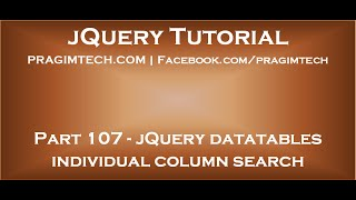 jQuery Datatables Individual Column Search