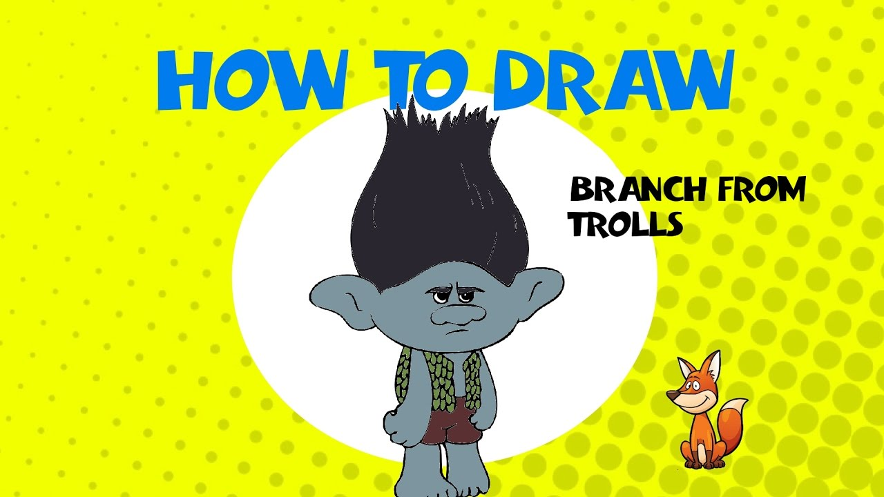 how to draw trolls branch