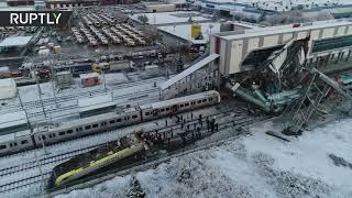 Drone footage: Turkish train crashes in Ankara, at least 9 dead