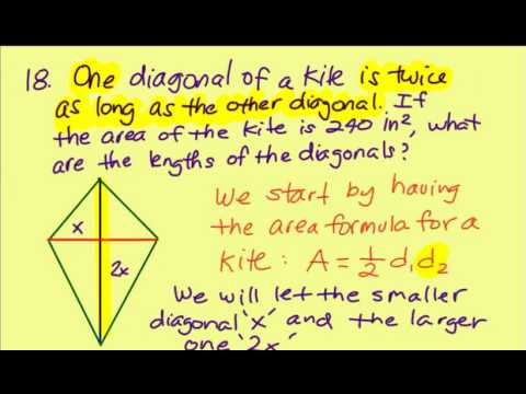 Given the area find the diagonals of a kite youtube given the area find the diagonals of a kite ccuart Images