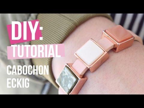 Schmuck machen: Cuoio Armband mit Cabochon eckig von Polaris Elements ♡ DIY