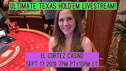 Ultimate Texas Hold'em Livestream!! $1000 Starting Bankroll!! Sept 17 2019