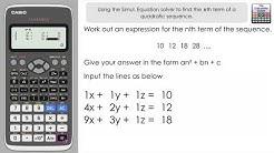 Find nth term of a Quadratic Sequence using a Classwiz Calculator -  Equation Solver Trick fx-991EX