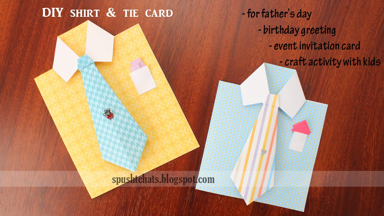 Shirt Tie Greeting Card For Birthday Fathers Day