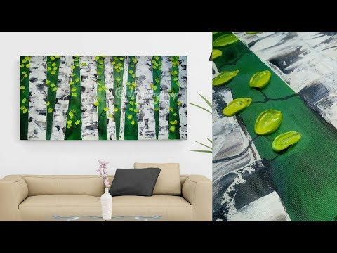 Abstract Painting Demonstration With Masking Tape And Palette Knife - Birch Tree - How To Paint