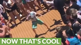 8-year-old enters dance-off and immediately wins the crowd over!