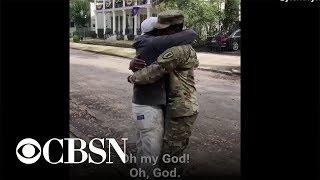 Single dad bursts into tears after son surprises him