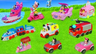 Minnie Mouse & Mickey Unboxing: All Toy Vehicles with Fireman, Train, Clubhouse & Bow Tique for Kids