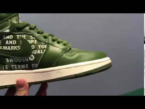 Nike Air Jordan 1 Retro High OG Nike Air Pack Olive Canvas 555088 300 at
