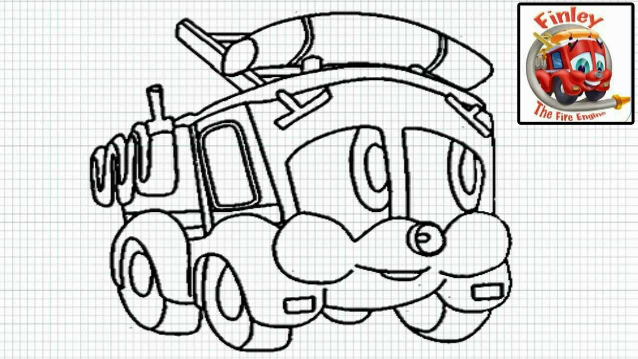 finley the fire engine how to draw finley the fire engine video easy drawing for kids youtube