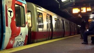 MBTA Red Line Trains at Davis Station