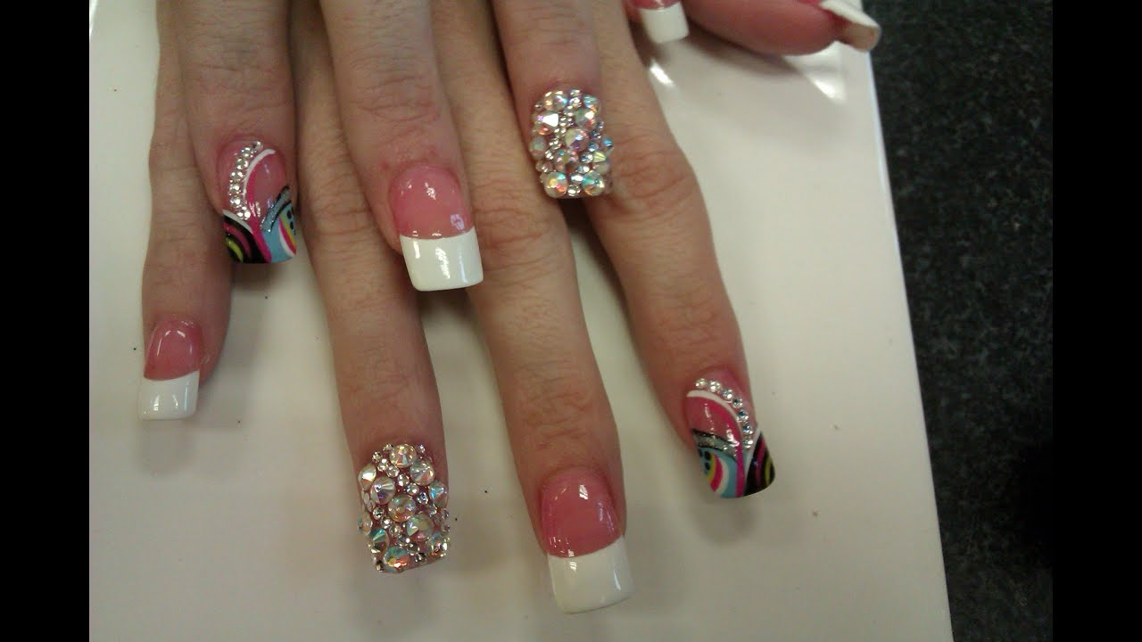 White Tip Nails with Diamonds & Colorful Design - YouTube