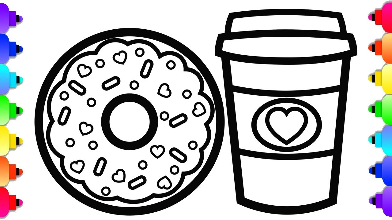 GLITTER Donut Coloring and Drawing for Kids 🍩💜🌈Yummy Donut Coloring Page